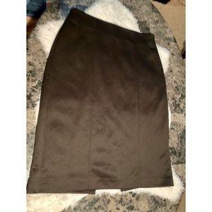 Women's black pencil skirt with split in back